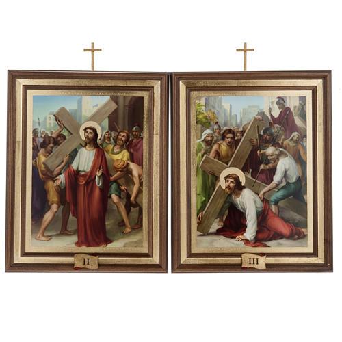 Quadri Via Crucis legno tipo pittura 15 stazioni 7