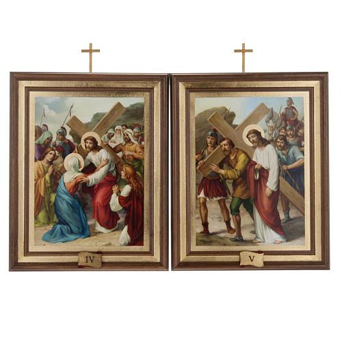 Quadri Via Crucis legno tipo pittura 15 stazioni 8