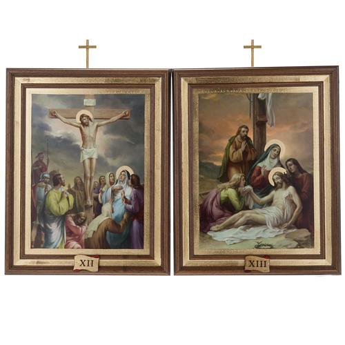 Quadri Via Crucis legno tipo pittura 15 stazioni 12