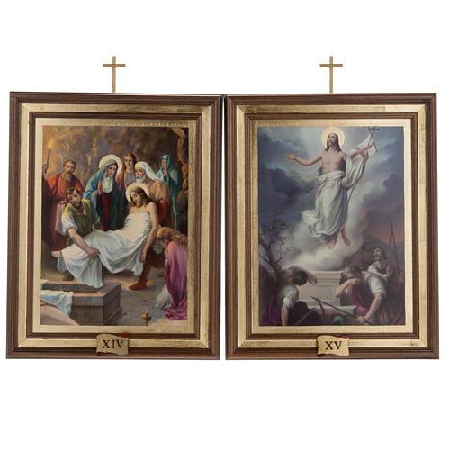 Quadri Via Crucis legno tipo pittura 15 stazioni 13