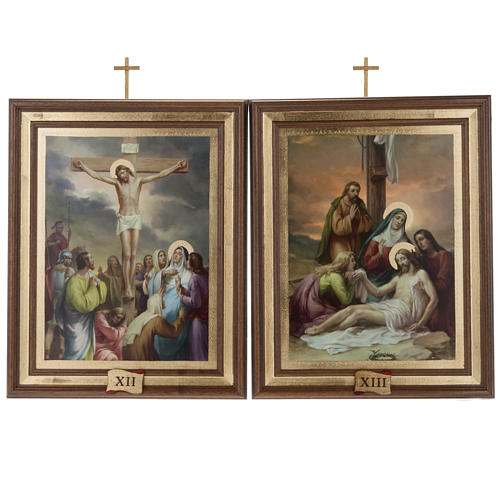Stations of the Cross printed on wood, 15 stations 12