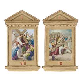 Stations of the Cross printed on wood framed, 15 station s9