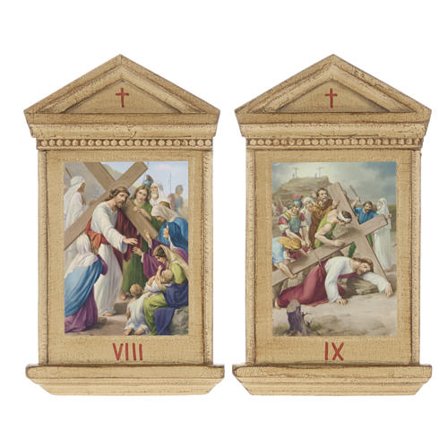 Stations of the Cross printed on wood framed, 15 station 9