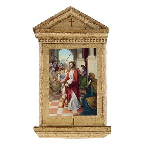 Stations of the Cross printed on wood framed, 15 station 1