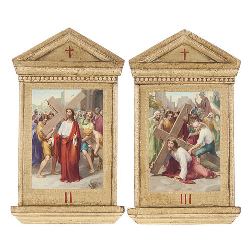 Stations of the Cross printed on wood framed, 15 station 6