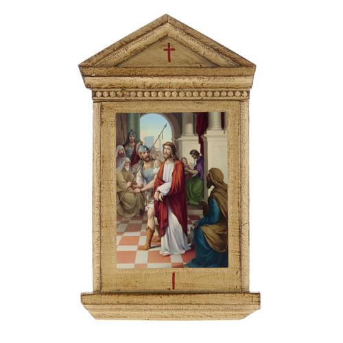 Via Crucis altarini legno XV stazioni 1
