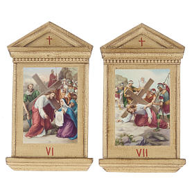 Stations of the Cross printed on wood framed, 15 stations s8