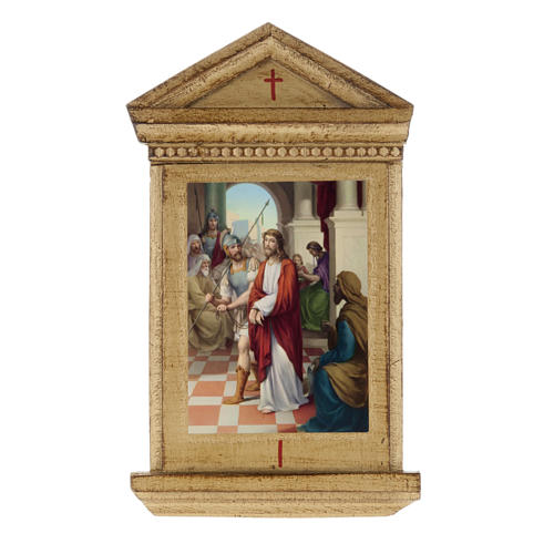 Stations of the Cross printed on wood framed, 15 stations 1