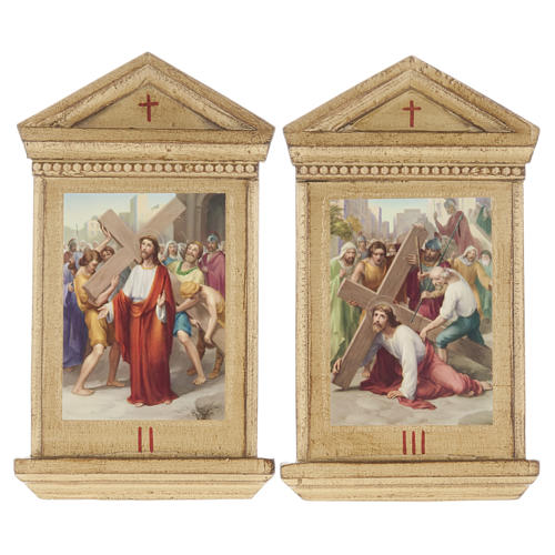 Stations of the Cross printed on wood framed, 15 stations 6