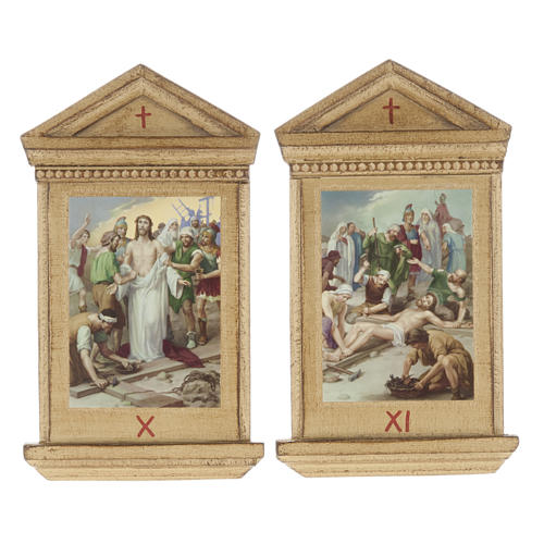 Stations of the Cross printed on wood framed, 15 stations 10