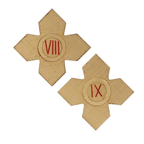 Via Crucis: croci dorate numerate legno 15 pz. 6