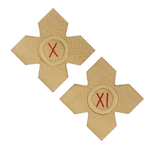 Via Crucis: croci dorate numerate legno 15 pz. 7