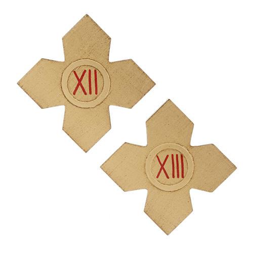 Via Crucis: croci dorate numerate legno 15 pz. 8