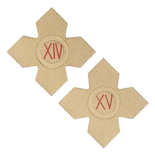 Via Crucis: croci dorate numerate legno 15 pz. 9