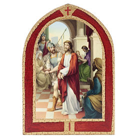 Way of the Cross: Way of the Cross printed on wood with a red frame, 15 stations