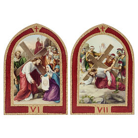 Way of the Cross printed on wood with a red frame, 15 stations s6