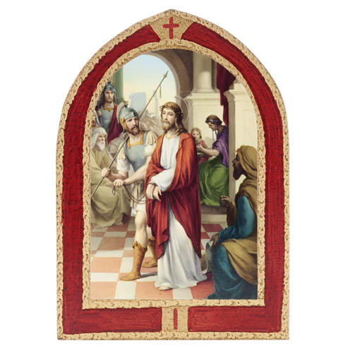 Way of the Cross printed on wood with a red frame, 15 stations 1