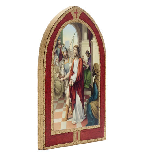 Way of the Cross printed on wood with a red frame, 15 stations 3