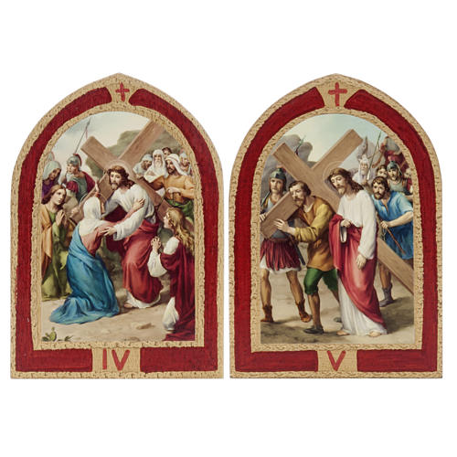 Way of the Cross printed on wood with a red frame, 15 stations 5