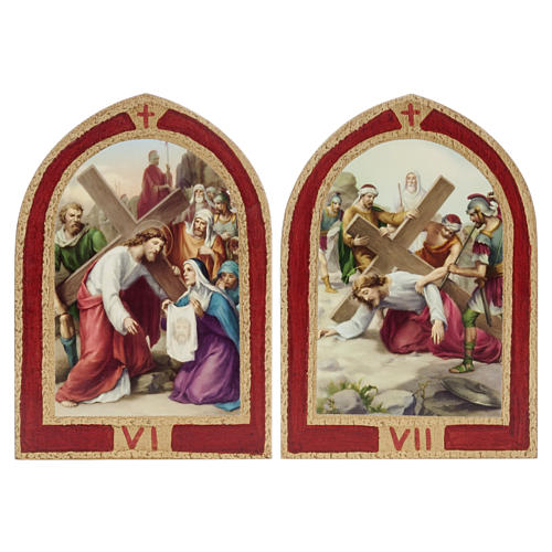 Way of the Cross printed on wood with a red frame, 15 stations 6