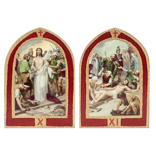 Way of the Cross printed on wood with a red frame, 15 stations 8