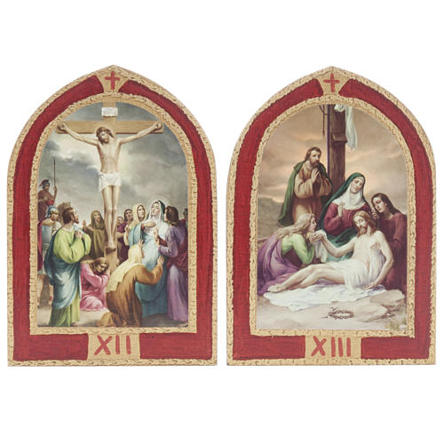 Way of the Cross printed on wood with a red frame, 15 stations 9