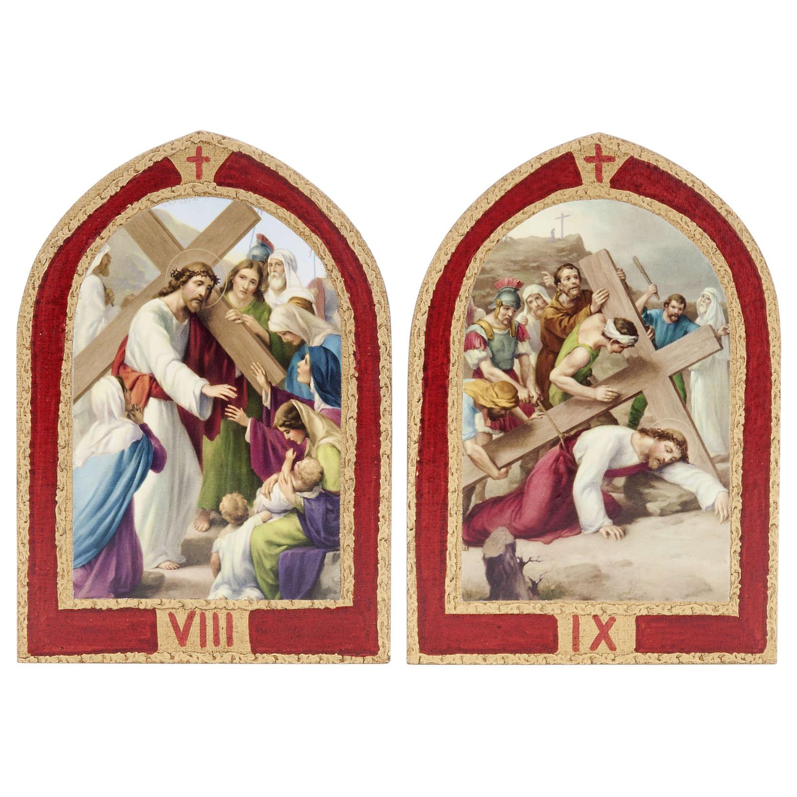 Via Crucis: tablas ojivales madera 15 estaciones 4