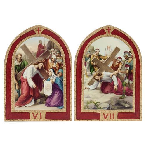 Via Crucis: tavole ogivali legno 15 stazioni 6