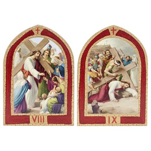 Via Crucis: tavole ogivali legno 15 stazioni 7