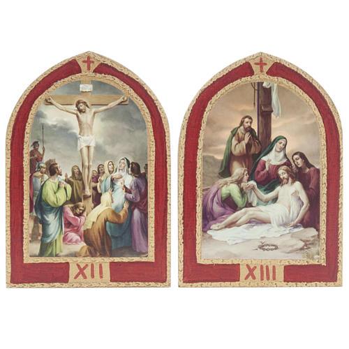 Via Crucis: tavole ogivali legno 15 stazioni 9