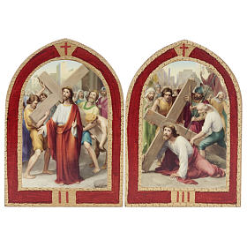 Way of the Cross printed on wood with a red frame, 15 stations s4