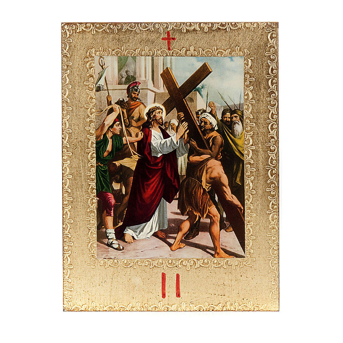 Way of the Cross printed on wood framed in gold, 15 stations 4