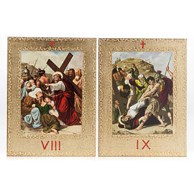 Way of the Cross printed on wood framed in gold, 15 stations s7
