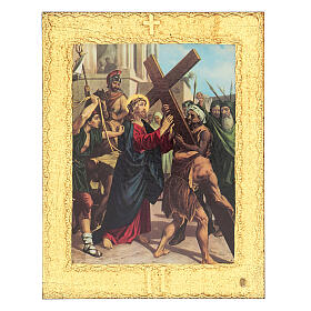 Way of the Cross printed on wood framed in gold, 15 stations s2