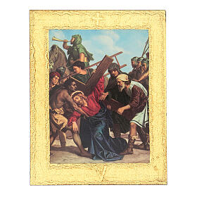 Way of the Cross printed on wood framed in gold, 15 stations s5