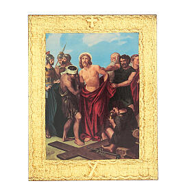 Way of the Cross printed on wood framed in gold, 15 stations s10