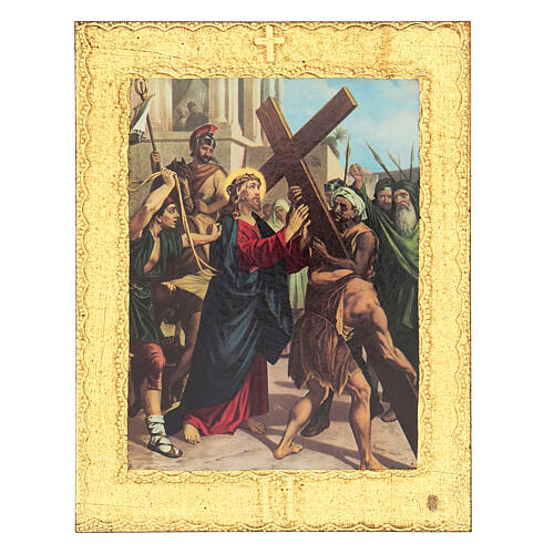 Way of the Cross printed on wood framed in gold, 15 stations 2