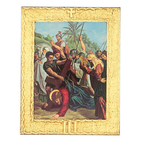 Way of the Cross printed on wood framed in gold, 15 stations 3