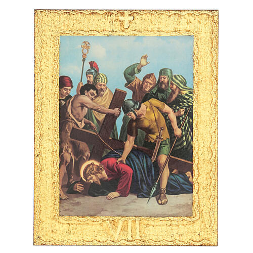Way of the Cross printed on wood framed in gold, 15 stations 7