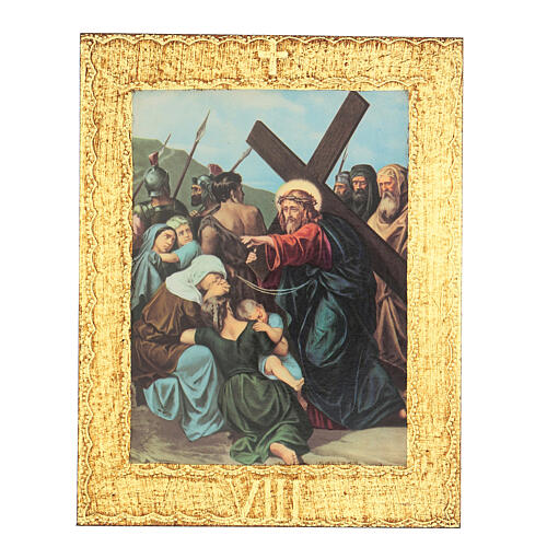 Way of the Cross printed on wood framed in gold, 15 stations 8
