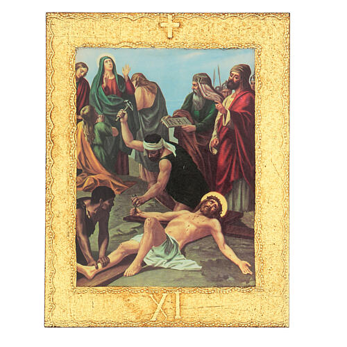 Way of the Cross printed on wood framed in gold, 15 stations 11