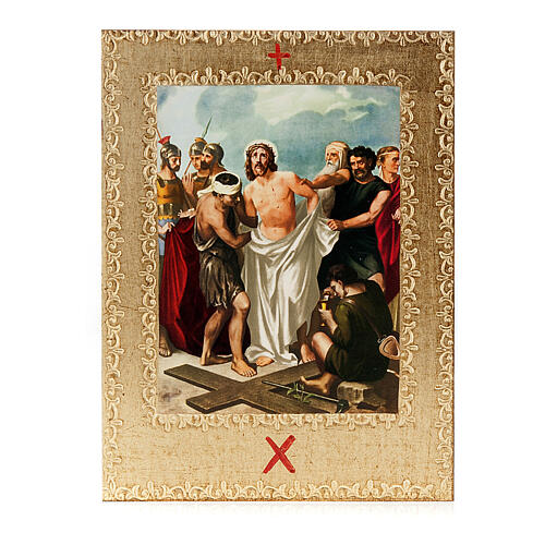 Way of the Cross printed on wood framed in gold, 15 stations 12