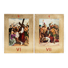 Via Crucis 15 estaciones: tablas doradas en madera s6