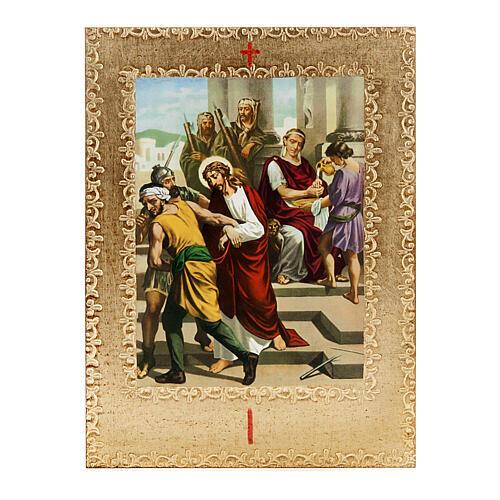 Via Crucis 15 estaciones: tablas doradas en madera 1
