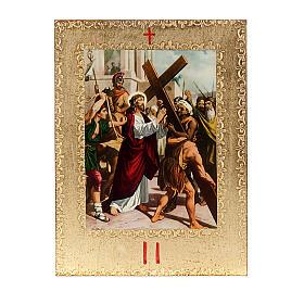 Chemin de Croix 15 stations, tableaux dorés en bois s4
