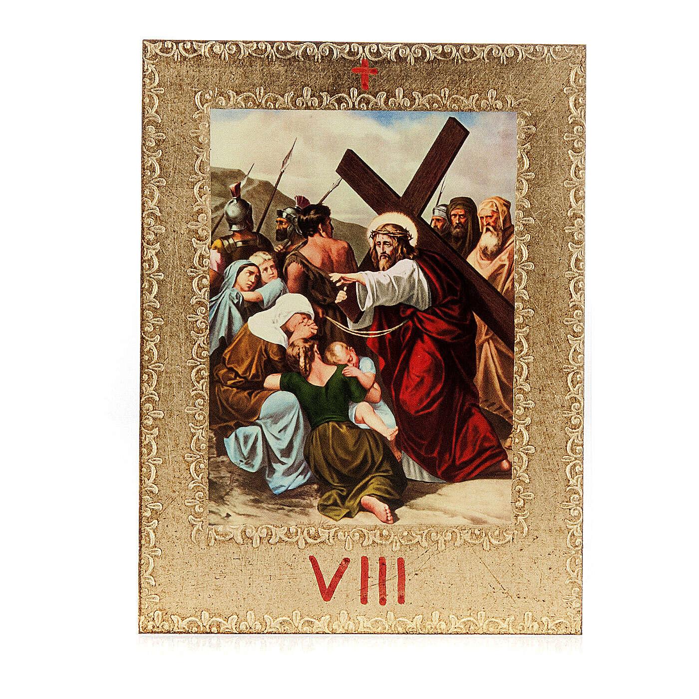 Via Crucis 15 stazioni: tavole dorate in legno 4