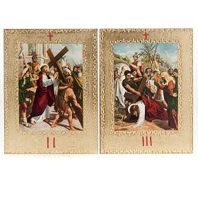 Via Crucis 15 stazioni: tavole dorate in legno s4