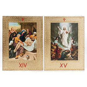 Via Crucis 15 stazioni: tavole dorate in legno s10