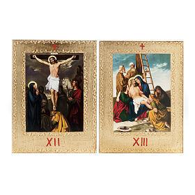 Via Crucis 15 stazioni: tavole dorate in legno s9