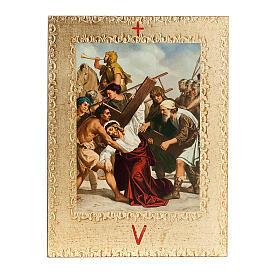 Via Crucis 15 stazioni: tavole dorate in legno s7